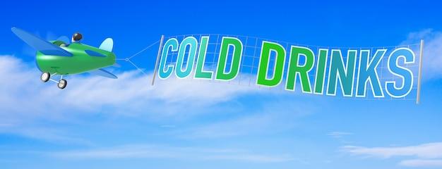 Aeroplani del fumetto con la bandiera della bevanda fredda. rendering 3d
