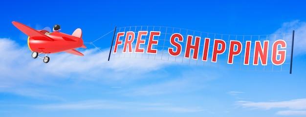 Aeroplani del fumetto con la bandiera di spedizione gratuita. rendering 3d