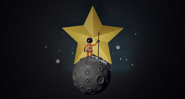 L'astronauta del fumetto con la bandiera sta sulla stella dietro il rendering 3d