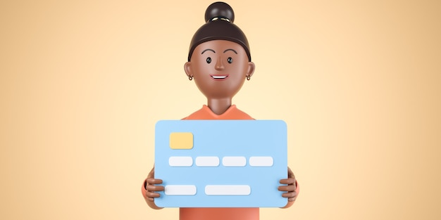 La donna afroamericana nera del fumetto in camicia arancione tiene la grande carta di credito della banca sopra fondo giallo. illustrazione di rendering 3d