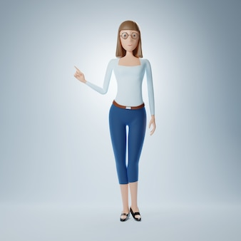 La donna d'affari del personaggio dei cartoni animati punta il dito contro uno spazio vuoto. illustrazione 3d