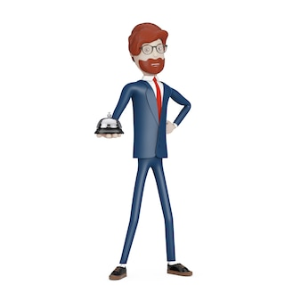 Personaggio dei cartoni animati uomo d'affari con servizio di scrivania campanello in mano su uno sfondo bianco. rendering 3d