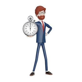 Personaggio dei cartoni animati uomo d'affari con cronometro in mano su sfondo bianco. rendering 3d