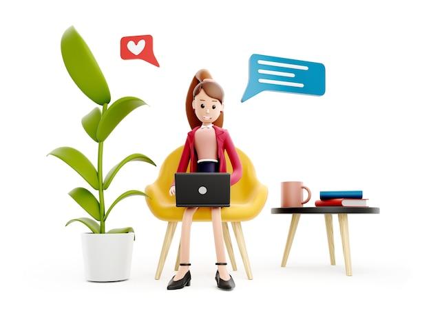 La ragazza del personaggio dei cartoni animati si siede al tavolo con un laptop, creando un concetto di idea
