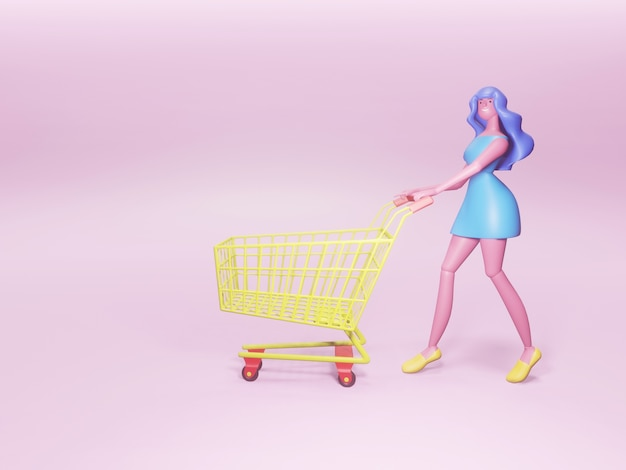 Personaggio dei cartoni animati di una donna carina e felice con un carrello della spesa.