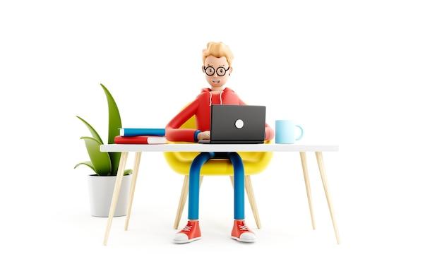 Il personaggio dei cartoni animati si siede al tavolo con un laptop, un programmatore, un designer o un impiegato