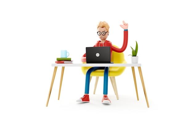 Il personaggio dei cartoni animati si siede al tavolo con un laptop, creando un concetto di idea