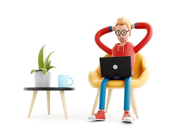 Il personaggio dei cartoni animati si siede con un laptop, un programmatore, un designer o un impiegato