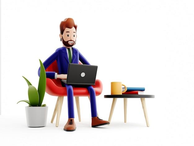 Il personaggio dei cartoni animati si siede con un laptop, un impiegato, un capo o un manager