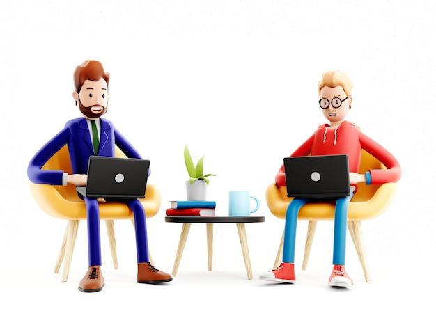 Il personaggio dei cartoni animati si siede con un laptop, un programmatore, un designer o un impiegato, un capo e un manager
