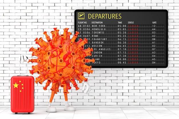 Cartoon coronavirus covid-19 personaggio mascotte personaggio con valigia cinese vicino al tabellone delle partenze dell'aeroporto con voli chiusi davanti al primo piano estremo del muro di mattoni. rendering 3d
