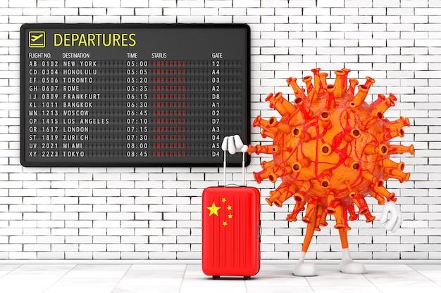 Cartoon coronavirus covid-19 personaggio mascotte personaggio con valigia cinese vicino al tabellone delle partenze dell'aeroporto con destinazioni infette di fronte al primo piano estremo del muro di mattoni. rendering 3d