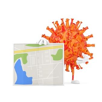 Cartoon coronavirus covid-19 virus mascot persona personaggio con mappa astratta del piano della città su uno sfondo bianco. rendering 3d