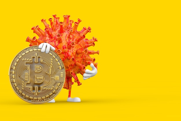 Cartoon coronavirus covid-19 virus mascot persona personaggio con digital e cryptocurrency golden bitcoin coin su sfondo giallo. rendering 3d