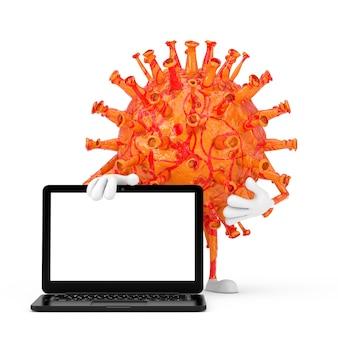 Cartoon coronavirus covid-19 virus mascotte personaggio personaggio con computer portatile moderno notebook e schermo vuoto per il tuo design su sfondo bianco. rendering 3d