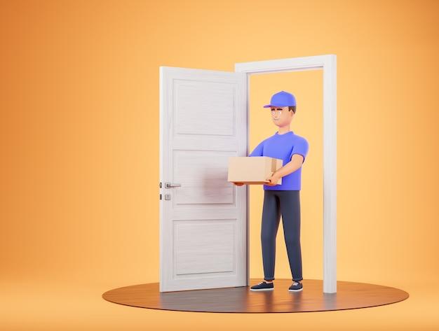 Il fattorino del corriere dei cartoni animati porta la scatola alla porta bianca e al podio su sfondo giallo