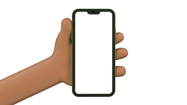 Mano del fumetto che tiene un telefono cellulare dalla parte anteriore. schermo vuoto per inserire un'immagine della tua applicazione o del web. oggetti isolati sulla parete bianca. 3d.