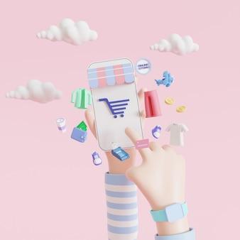 Mano del fumetto che tiene smartphone mobile con app per lo shopping. concetto di acquisto online. illustrazioni 3d.
