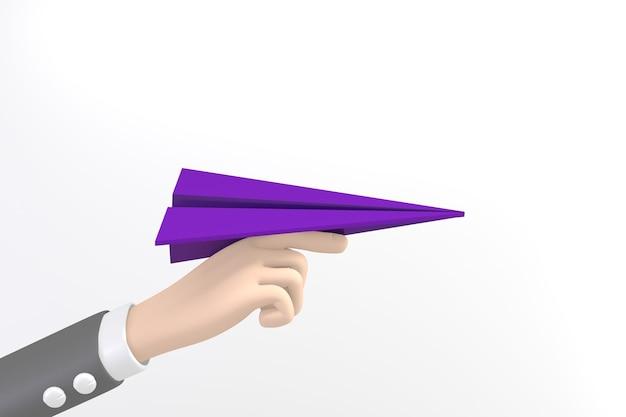 Cartoon mano azienda razzo di carta viola su sfondo bianco. rendering 3d