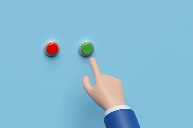Cartoon mano premendo un pulsante verde.