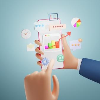 Mano del fumetto che utilizza smartphone con l'icona dell'app di marketing aziendale. rendering 3d