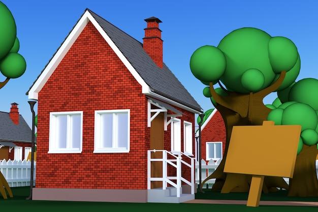 Una casa cartone animato con un cartellone in primo piano. rendering 3d