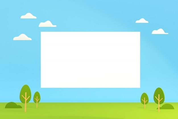 Vista del paesaggio del fumetto con la scatola in bianco per lo spazio della copia, illustrazione 3d.