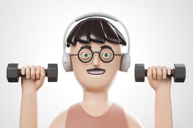 Cartoon ritratto di uomo bello brunet in occhiali e cuffie facendo esercizi con manubri su sfondo bianco. illustrazione di rendering 3d. Foto Premium
