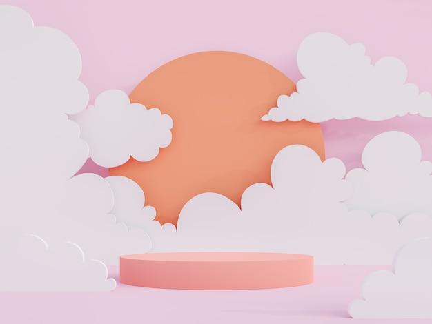 Il podio del cilindro rosa corallo in stile cartone animato sul cielo poligonale basso, il sole e il fondo nuvola 3d rendono