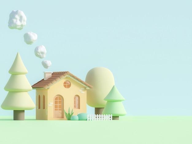 Casetta in stile cartone animato in rendering 3d a colori pastello