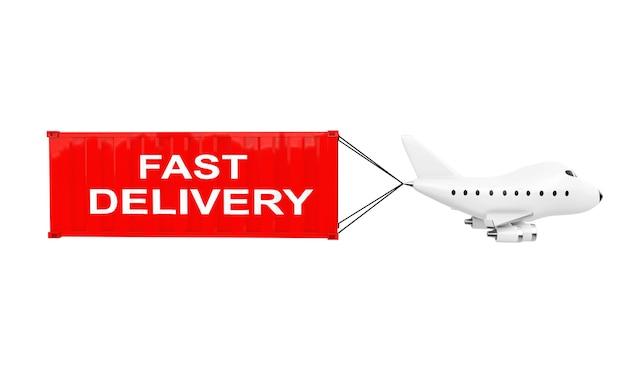 Cartone animato giocattolo aereo jet trasportare contenitore di carico con segno di consegna veloce su sfondo bianco. rendering 3d.