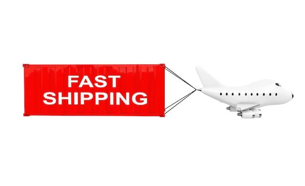 Cartoon toy jet aereo trasportare il contenitore di carico con il segno di spedizione veloce su sfondo bianco. rendering 3d.