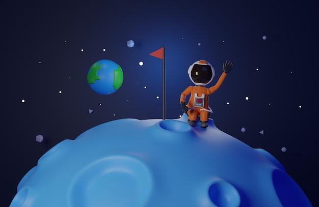 Il design della versione del fumetto dell'astronauta astronauta con bandiera si erge sulla luna 3d che rende il tono blu