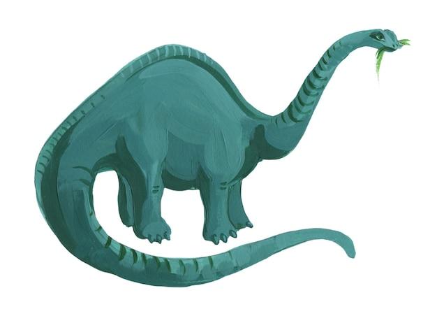 Brachiosauro dell'acquerello del fumetto isolato su bianco. illustrazione disegnata a mano sveglia del brachiosauro.