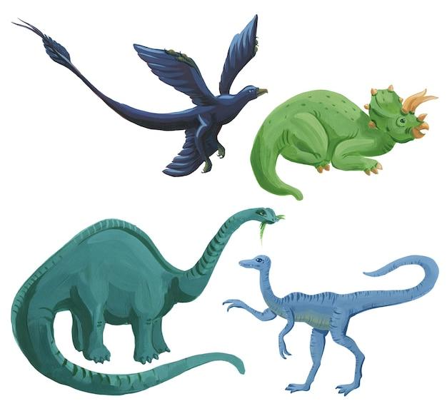 Insieme dei dinosauri dell'acquerello del fumetto isolato su bianco. illustrazione di dinosauri in acrilico disegnato a mano carino.