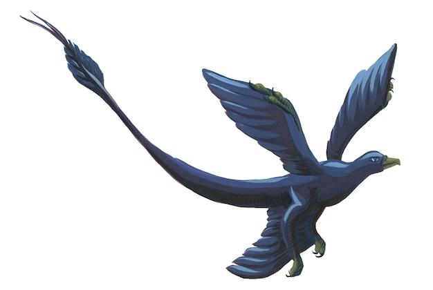 Microraptor volante dell'acquerello del fumetto isolato su bianco. simpatico microraptor acrilico disegnato a mano.