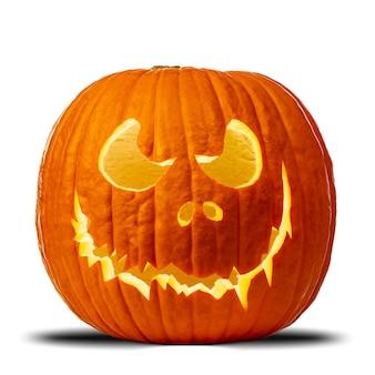 Zucca di halloween intagliata con espressione minacciosa.