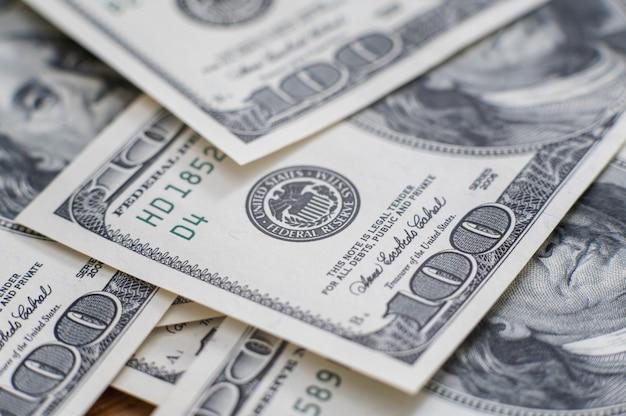 Contanti di banconote da cento dollari, immagine di sfondo del dollaro ad alta risoluzione