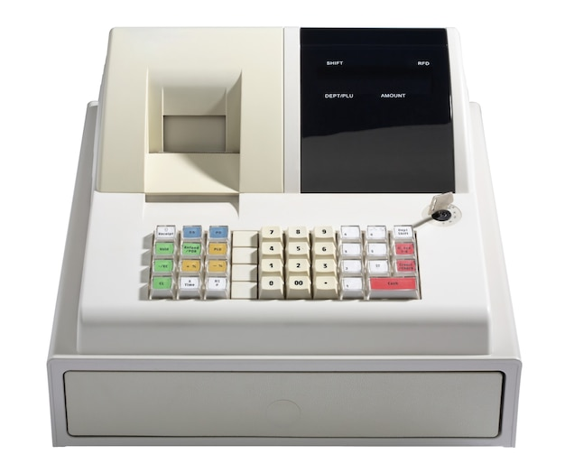 Registratore di cassa isolato su bianco. Foto Premium