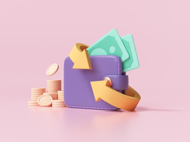 Cashback e rimborso denaro icona concetto. portafoglio, banconota da un dollaro e pila di monete, pagamento online su sfondo rosa. 3d ender illustrazione