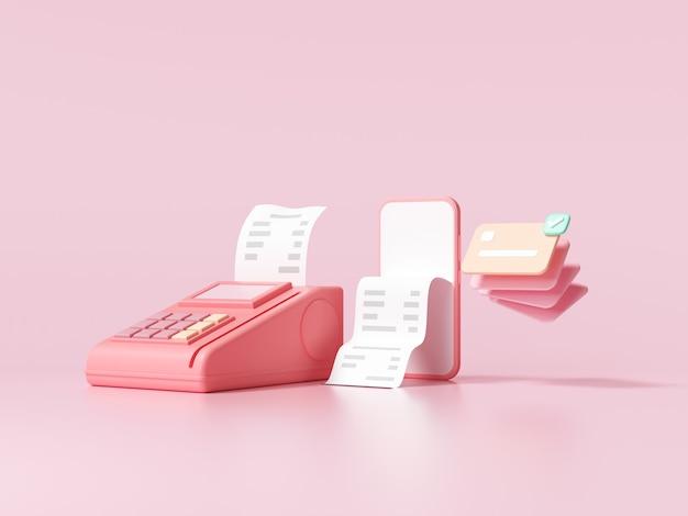 Società senza contanti, carta di credito, terminale pos e telefono su sfondo rosa. risparmio di denaro, concetto di pagamento online. illustrazione rendering 3d