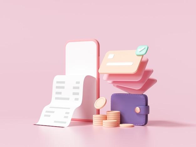 Società senza contanti, carta di credito, portafoglio e smartphone con una transazione su sfondo rosa. risparmio di denaro, concetto di pagamento online. illustrazione rendering 3d