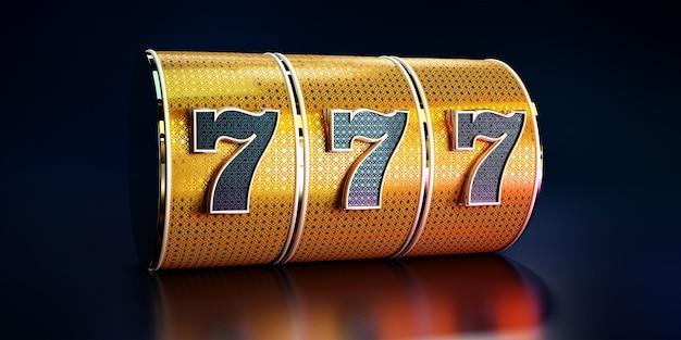 Sfondo di casinò, concetto di slot machine d'oro.