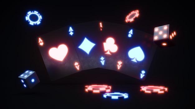 Chip e carte al neon del casinò. fiches da poker che cadono foto premium