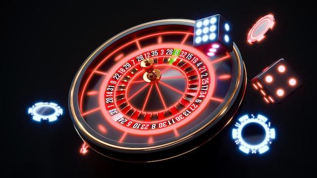 Chip al neon del casinò. fiches da poker che cadono foto premium