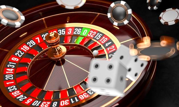 Ruota della roulette del casinò con dadi