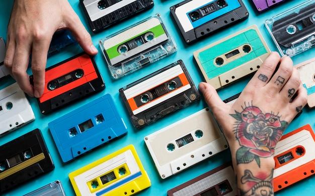 Collezione vintage di cassette a cassetta