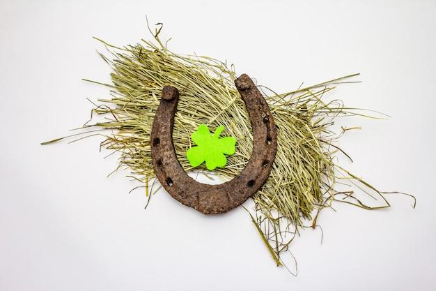 Ghisa a ferro di cavallo in metallo su fieno, isolato su sfondo bianco, feltro foglia di trifoglio