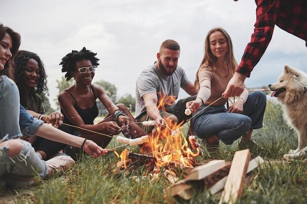 In abiti casual. un gruppo di persone fa un picnic sulla spiaggia. gli amici si divertono durante il fine settimana.