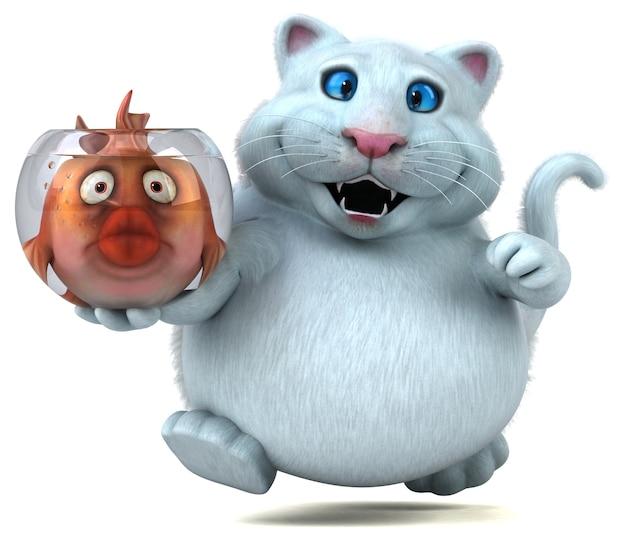 Gatto e pesce - illustrazione 3d